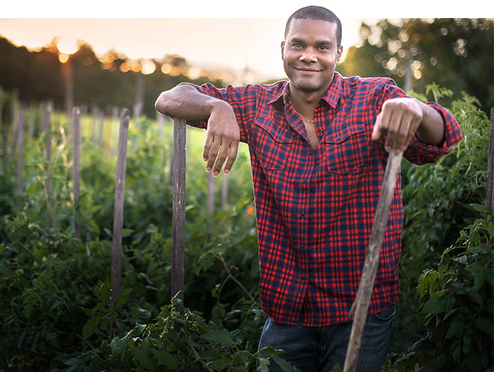 Farmer in red plaid shirt